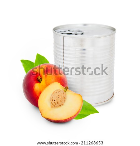 Photo of can with peach isolated on white - stock photo
