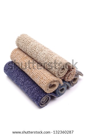 Photo of Carpet rolls colorful - stock photo