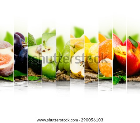 Photo of colorful fruit mix with white space for text - stock photo