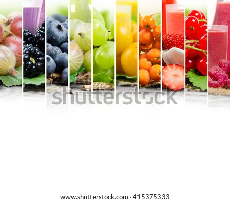 Photo of colorful mix stripes with berry fruit, slices and glass with juice; healthy food and drink concept; white space for text - stock photo