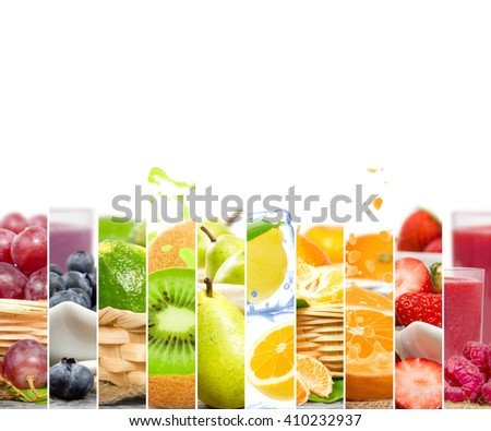 Photo of colorful mix stripes with fruit, slices, splash and drink; healthy eating concept; white space for text - stock photo
