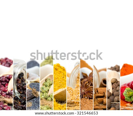 Photo of colorful spice mix with white space for text - stock photo