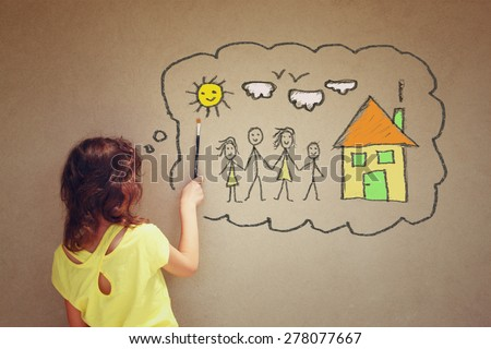 Photo of cute kid imagine a happy family. set of infographics over textured wall background  - stock photo