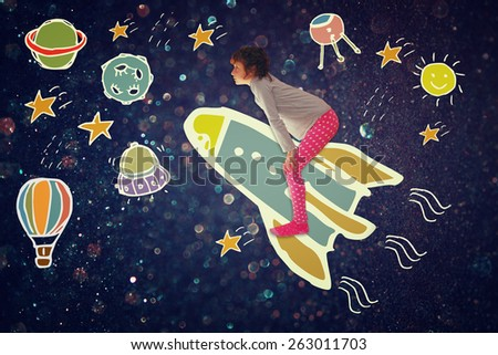 Photo of cute kid imagine spachip flight. image withe set of infographics over glittery background - stock photo