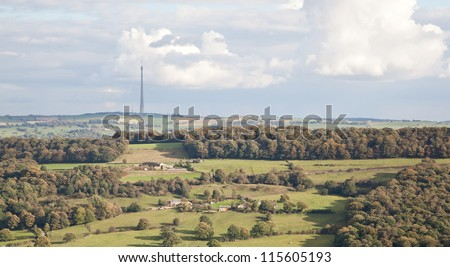 Photo of Emley Moor television mast in West Yorkshire, England, UK - stock photo