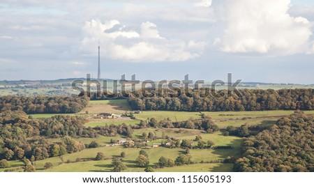 Photo of Emley Moor television mast in West Yorkshire, England, UK - stock photo