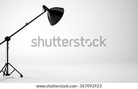 Photo of empty studio room with lamp, nobody. 3d render - stock photo