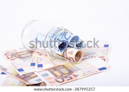 photo of euro savings hidden in a jar - stock photo