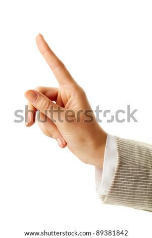 Photo of female hand with forefinger pointing upwards - stock photo