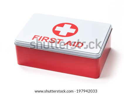 Photo of first aid kit isolated on white. - stock photo