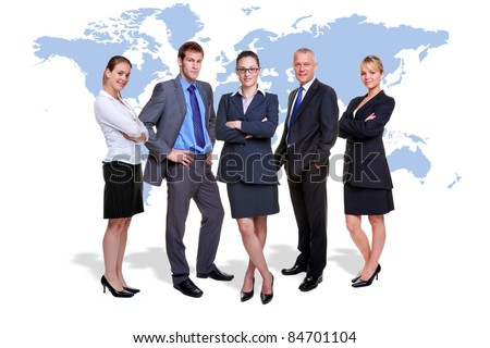 Photo of five corporate people on white with a map of the world behind them, good for worldwide and global business themes. - stock photo