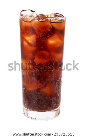 Photo of fizzy sweet water in a glass with ice cubes, isolated on a white background - stock photo