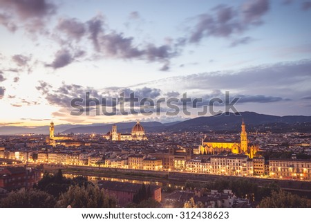Photo of Florence's landscape with a beautiful light. - stock photo
