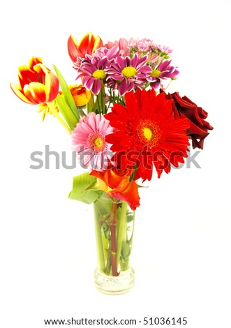 Photo of flower bouquet isolated on white background - stock photo
