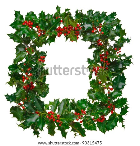 Photo of fresh holly with red berries arranged in a square frame and isolated on a white background. - stock photo