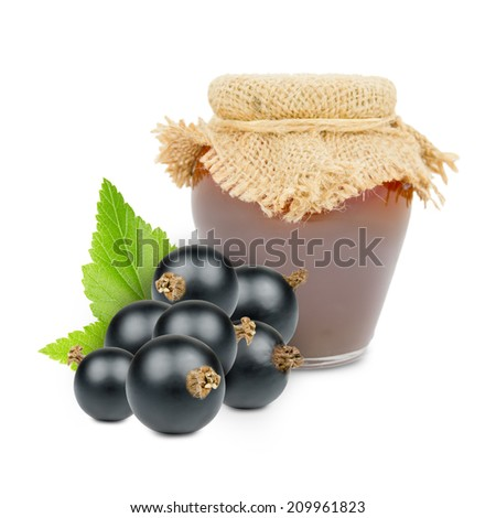 Photo of glass with currant jam isolated on white - stock photo