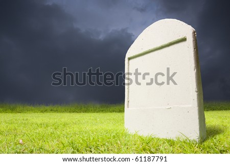 photo of graveyard at dark night - stock photo