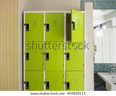 Photo Of Green Lockers In The Room - stock photo