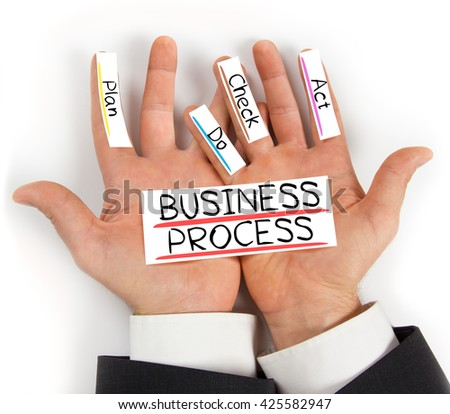 Photo of hands holding paper cards with BUSINESS PROCESS concept words - stock photo