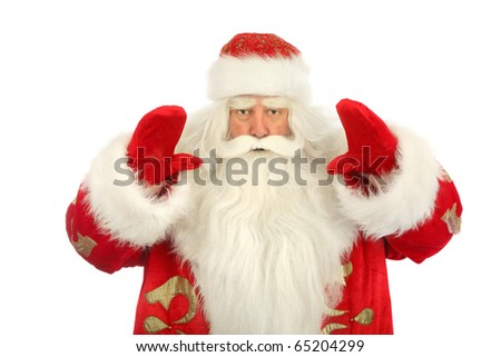 Photo of happy Santa Claus with gesture hands. looking at camera.isolated background - stock photo