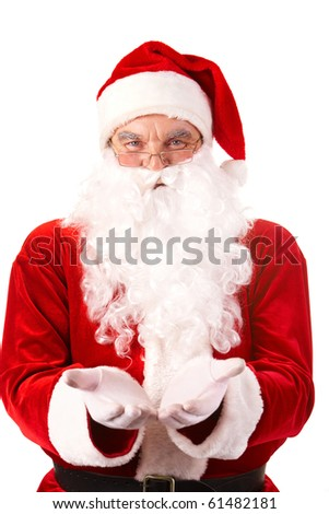 Photo of happy Santa Claus with open palms looking at camera - stock photo