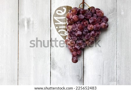 Photo of heart shape blue vine grapes  - stock photo