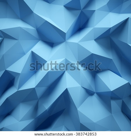 Photo of highly detailed multicolor polygon. Blue geometric rumpled triangular low poly style. Square. 3d render - stock photo