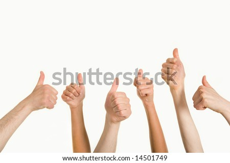 Photo of human hands showing sign of okay over white background - stock photo