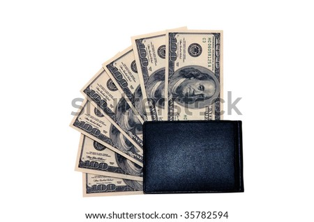 Photo of hundred dollars bills in a wallet isolated over white background - stock photo