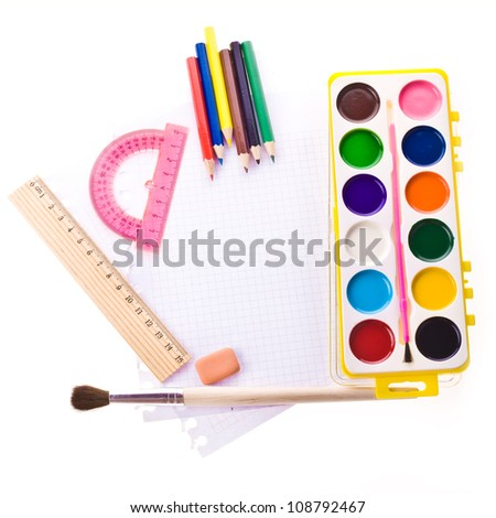 Photo of Items for school student gear over white background - Back to school concept - stock photo