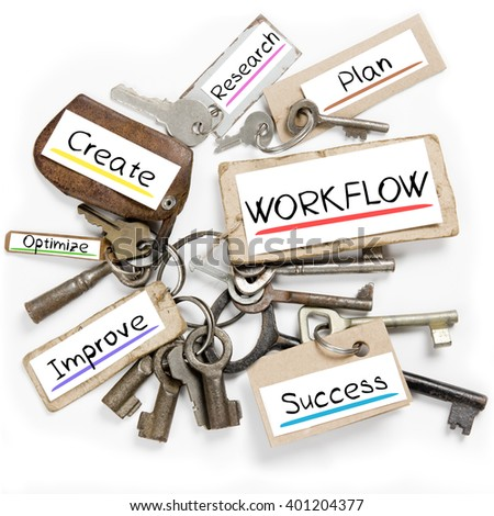 Photo of key bunch and paper tags with WORKFLOW conceptual words - stock photo