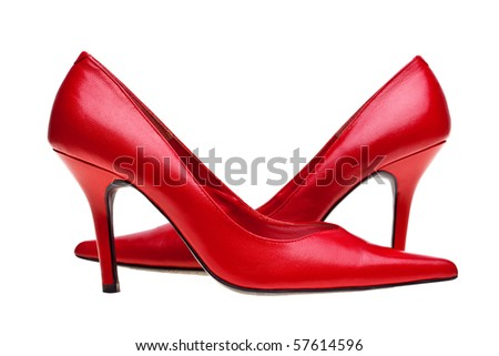 Photo of ladies red high heel shoes, isolated on a white background. - stock photo