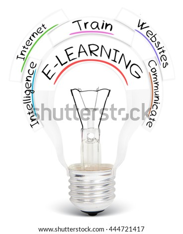 Photo of light bulb with E-LEARNING conceptual words isolated on white - stock photo