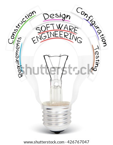 Photo of light bulb with SOFTWARE ENGINEERING conceptual words isolated on white - stock photo