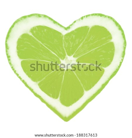 Photo of lime slice in a heart shape - stock photo