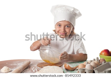 photo of little baker adorable.Cooking concept. - stock photo
