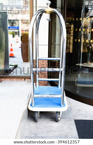 photo of  luggage cart at the hotel - stock photo