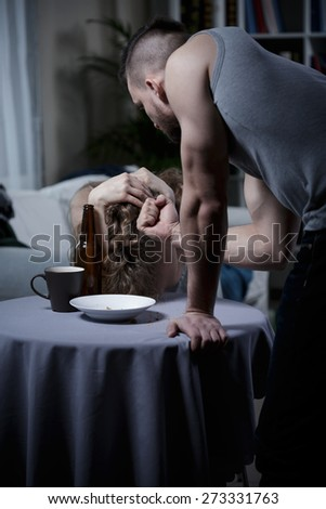 Photo of marriage problem with violence at home - stock photo