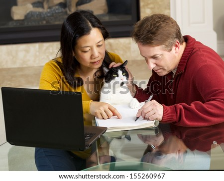 Photo of mature couple, along with family cat, working together at home with fireplace in background   - stock photo