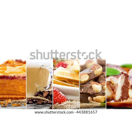 Photo of mix stripes with cakes, desserts, sweets, coffee and chocolate; white space for text - stock photo