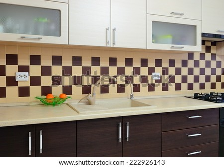 Photo of modern kitchen room - stock photo