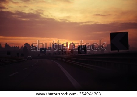 photo of Morning light on the road. - stock photo