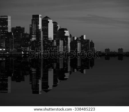 photo of new york cityscape skyline at night, nyc, usa - stock photo