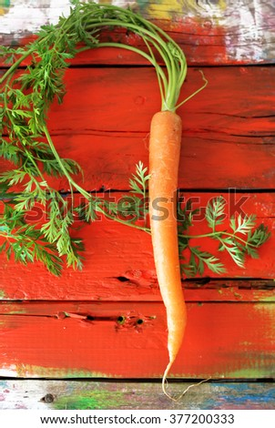 Photo of one fresh carrot on wooden background - stock photo