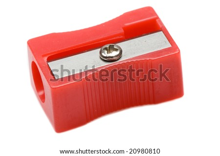 Photo of one pencil-sharpener on a over white background - stock photo