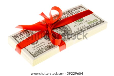 Photo of pack of dollars decorated with red ribbon over white background - stock photo