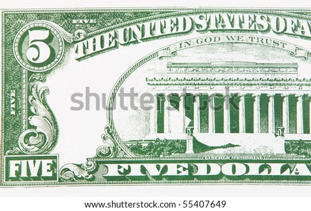Photo of part of a five-dollar bill - stock photo