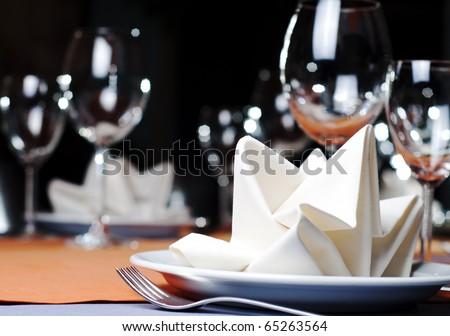 photo of professional restaurant serving - stock photo