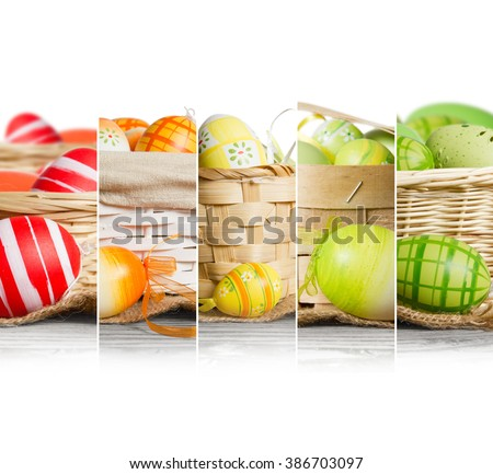 Photo of rainbow Easter egg mix slices in various kinds of baskets with white space for text - stock photo