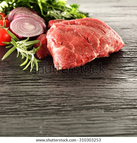 photo of raw fresh beef and vegetables  - stock photo
